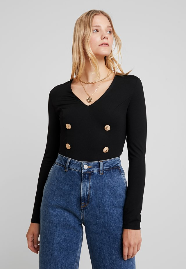 DOUBLE BREASTED TAILORED BODYSUIT - Long sleeved top - black