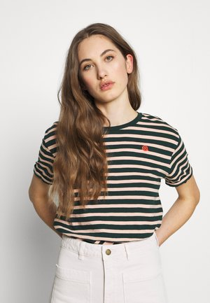 EASY STRIPE TEE WITH CHEST EMBROIDERY - Print T-shirt - combo