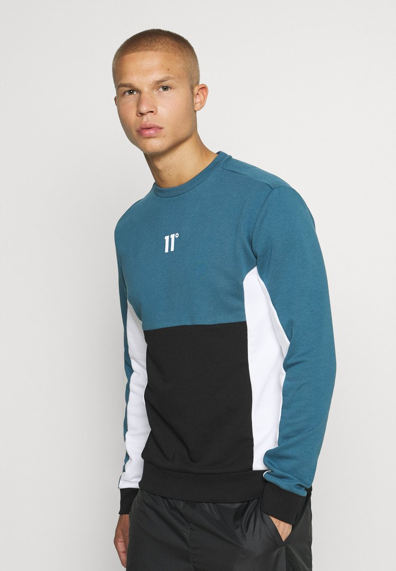 11 DEGREES - CUT AND SEW - Mikina - black /indian teal/white