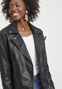 Vila - VICARA FAUX JACKET - Faux leather jacket - black - 4