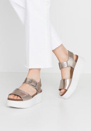 BOTANIC STRAP - Korkeakorkoiset sandaalit - stone