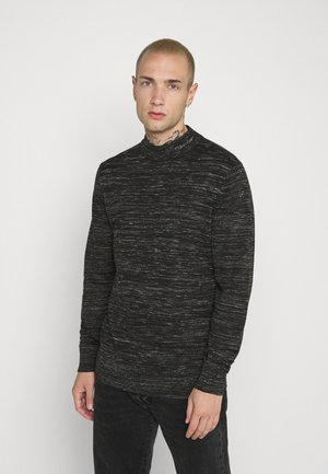 HEATHER MOCK NECK - Strikkegenser - black
