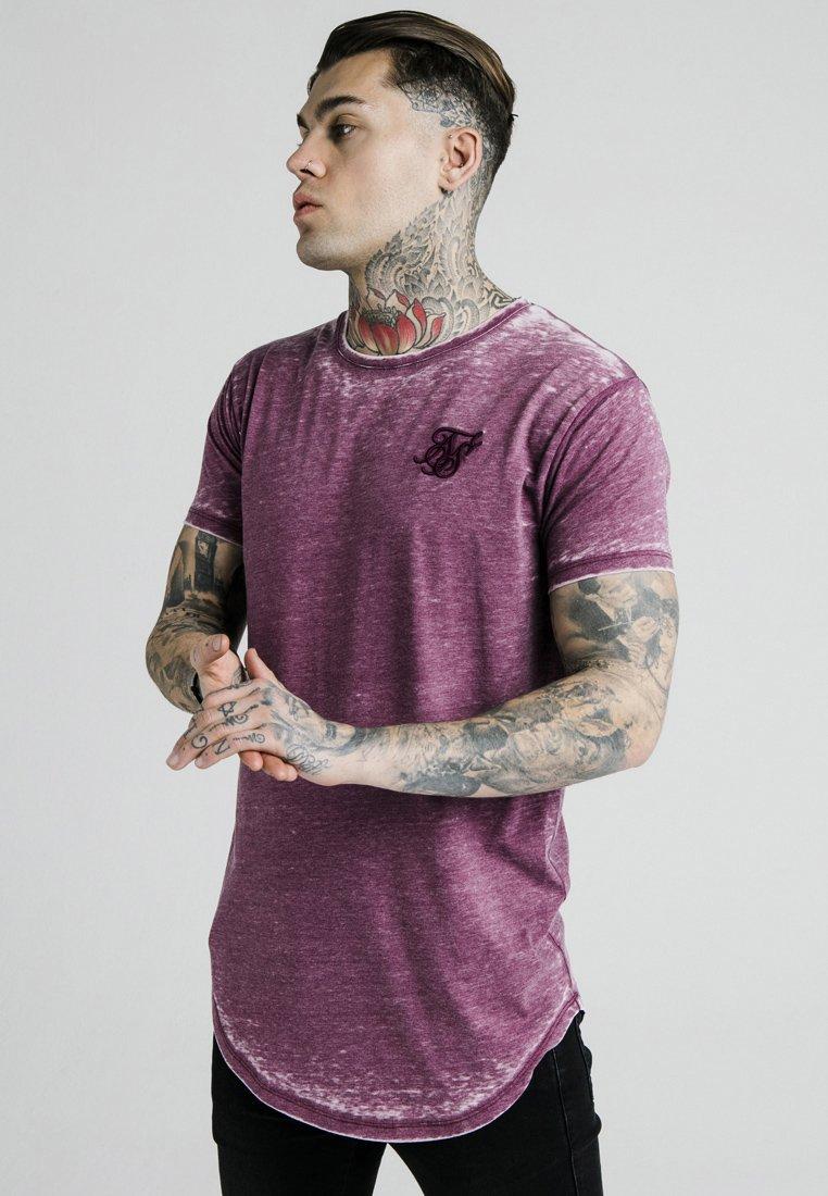 SIKSILK - BURNOUT ROLL SLEEVE TEE - T-shirt imprimé - burg