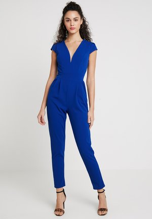 SHORT SLEEVE V NECK - Jumpsuit - blue
