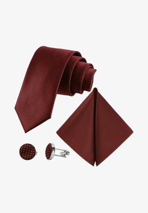 3 SET - MORENO CRAVATTA  - Pocket square - schwarz  rubin  rot blutrot gepunktet
