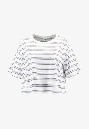 LADIES MULTICOLOR STRIPE TEE - T-shirt imprimé - white/black/skyblue/firered
