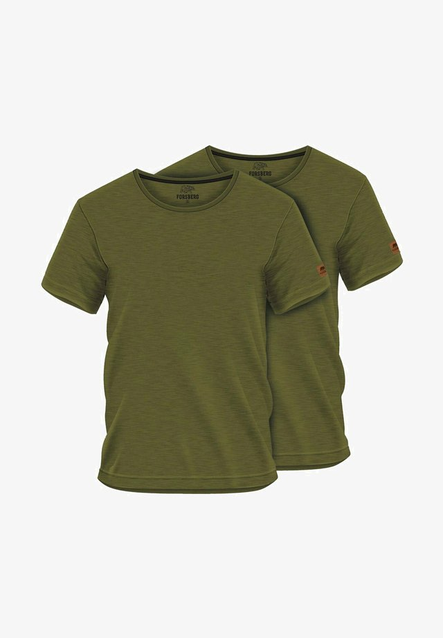 2 PACK - Basic T-shirt - oliv