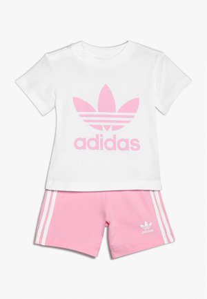 TEE SET - Kraťasy - white/light pink