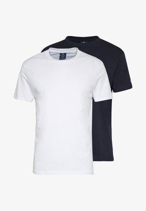 CREW NECK 2 PACK - Basic T-shirt - white/navy