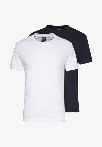 CREW NECK 2 PACK - T-shirt basic - white/navy