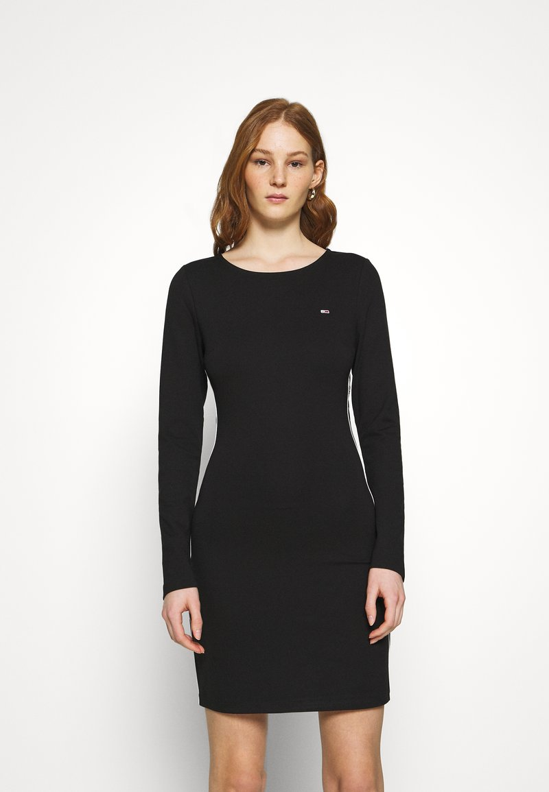 Tommy Jeans - TAPE DETAIL LONGSLEEVE DRESS - Jersey dress - black