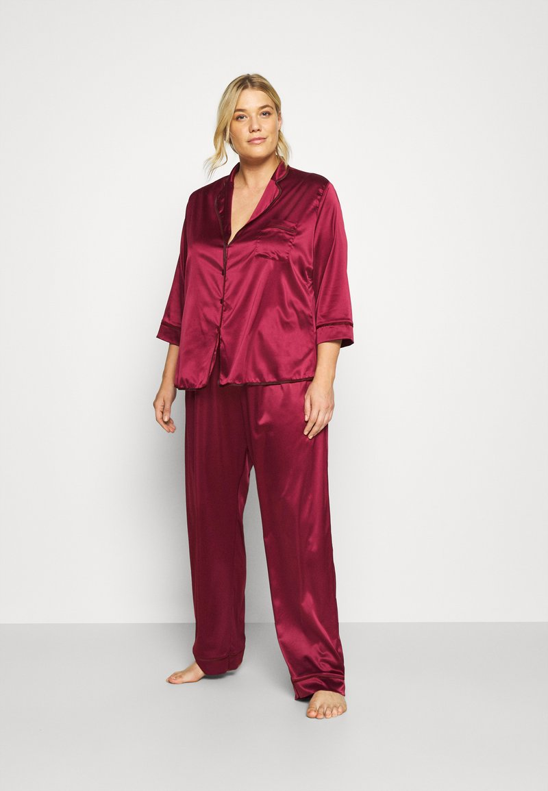Playful Promises - LONG WITH CONTRAST PIPING - Pyjama set - wine