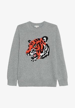 TIGER INTARSIA CREW  - Jumper - grey/persimmon/multi