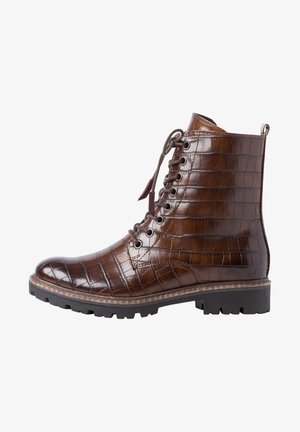 Lace-up ankle boots - chestnut croco