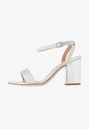 WIDE FIT ZAN SHIMMER MID BLOCK - High heeled sandals - silver