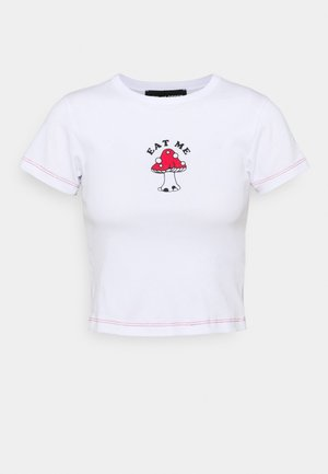 EAT ME MUSHROOM - T-shirt med print - white