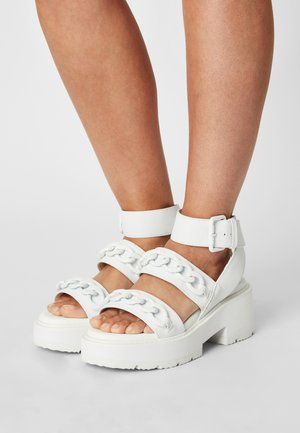 VEGAN ROCKET - Platform sandals - white