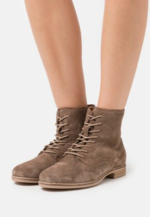 LEATHER - Botines con cordones - taupe