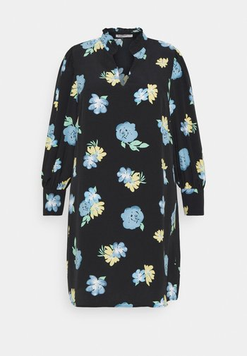 GATHERED DRESS WITH PUFF LONG SLEEVES - Kjole - black