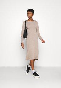 NU-IN - OPEN BACK MIDI DRESS - Jumper dress - beige - 1