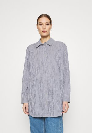 CRINCKLE POP SAXA - Button-down blouse - indigo/white