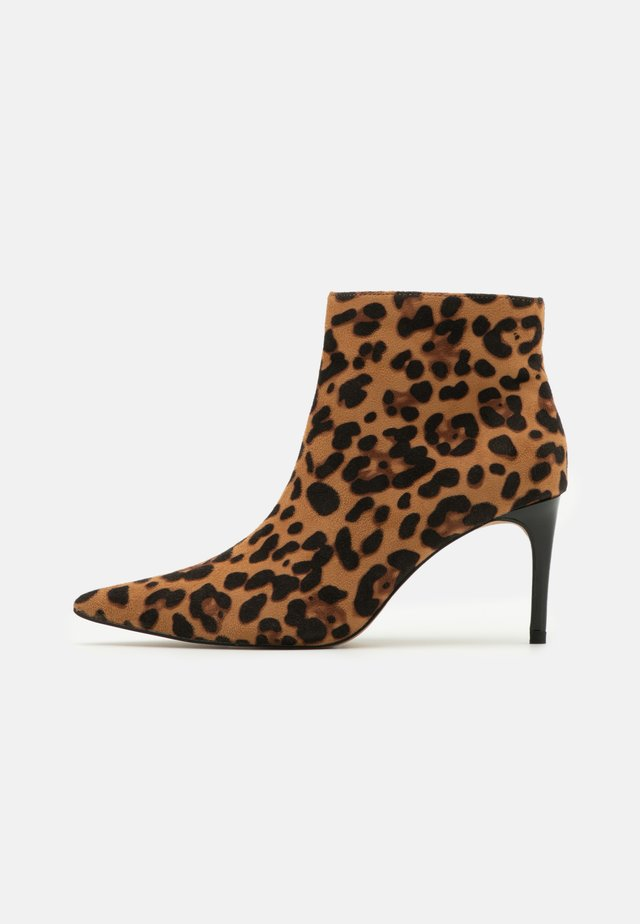 LEOPARD SLIM STILETTO - High heeled ankle boots - brown