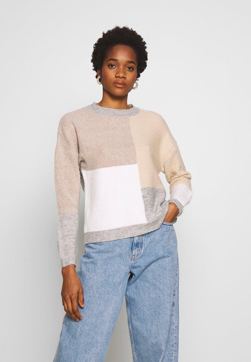 New Look - PATCHWORK JUMPER - Cardigan - cream