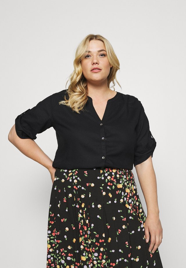 BLOUSE WITH OPEN COLLAR - Jednoduché triko - deep black