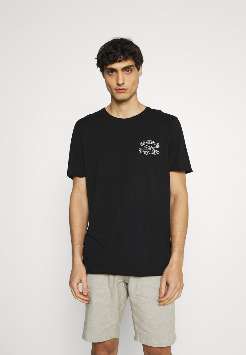 Selected Homme - SLHWALTER O-NECK TEE - Print T-shirt - black