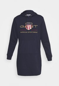 GANT - ARCHIVE SHIELD HOODIE DRESS - Day dress - evening blue - 3