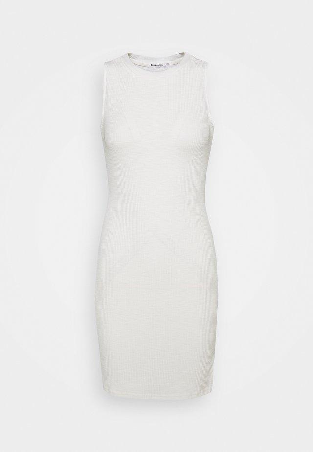 SIDE SPLIT SLEEVELESS MINI DRESS WITH HIGH ROUND NECKLINE - Hverdagskjoler - off white