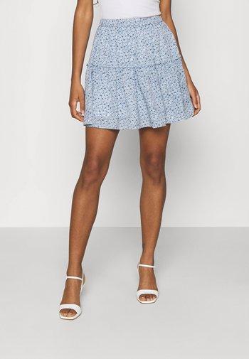 PAMELA REIF X ZALANDO RECYCLED FRILL MINI SKIRT - Mini skirt - painted blue
