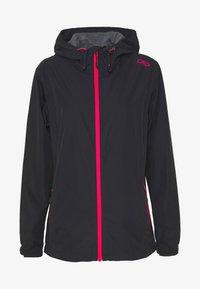 WOMAN RAIN JACKET FIX HOOD - Outdoor jacket - antracite/gloss