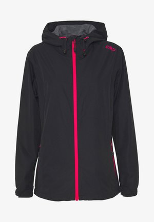 WOMAN RAIN JACKET FIX HOOD - Outdoor jacket - antracite/gloss