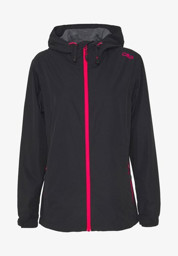 WOMAN RAIN JACKET FIX HOOD