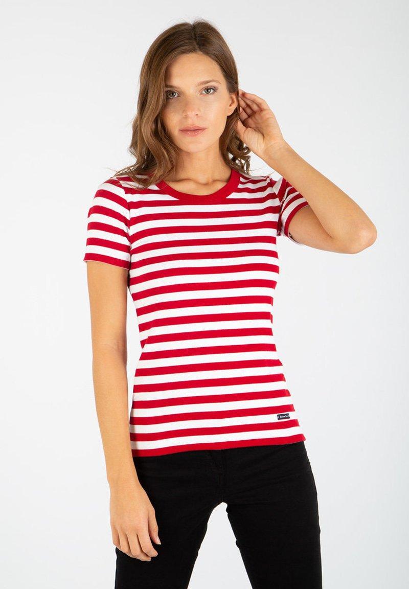Armor lux - HILLION MARINIÈRE - Print T-shirt - braise / blanc