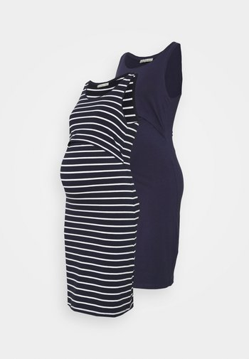 NURSING - 2 PACK - Jersey dress - Jerseykjole - dark blue/multicoloured