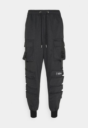 FRONT BUCKLE POCKET PANT - Reisitaskuhousut - mottled black