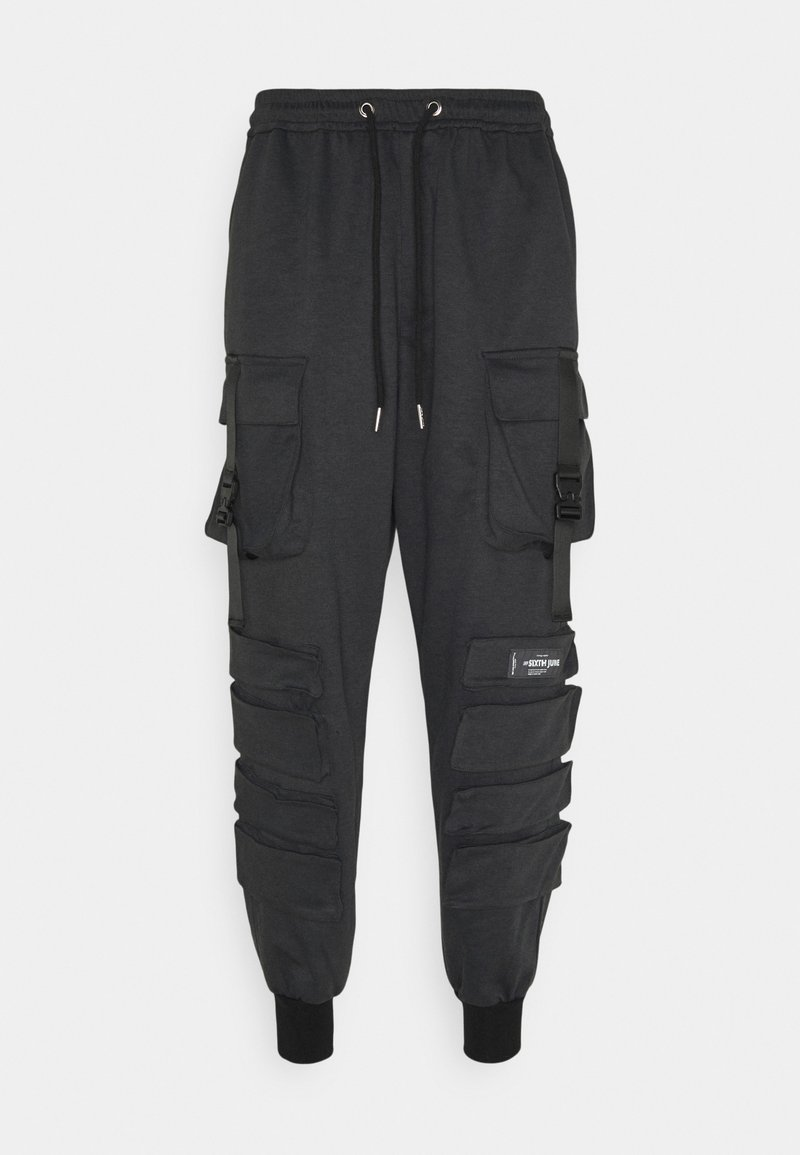 Sixth June - FRONT BUCKLE POCKET PANT - Cargo trousers - mottled black
