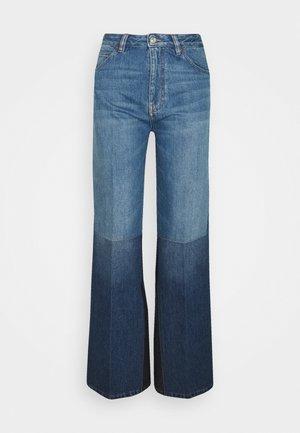 PATCHWORK - Široké džíny - washed indigo