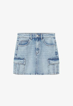 CARGO - Denim skirt - middenblauw