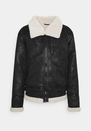 REGULAR AVIATOR JACKET - Faux leather jacket - black