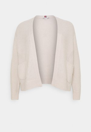 TEXTURED STITCH OPEN CARDI - Cardigan - vintage white