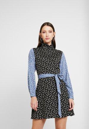 RUFFLE HIGH NECK MINI DRESS - Day dress - black/blue/white