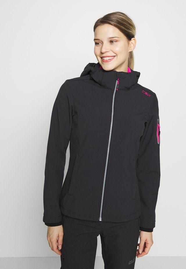 WOMAN JACKET ZIP HOOD - Softshellová bunda - antracite/bouganville