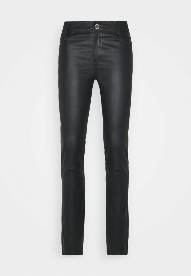 RUBY - Leather trousers - black