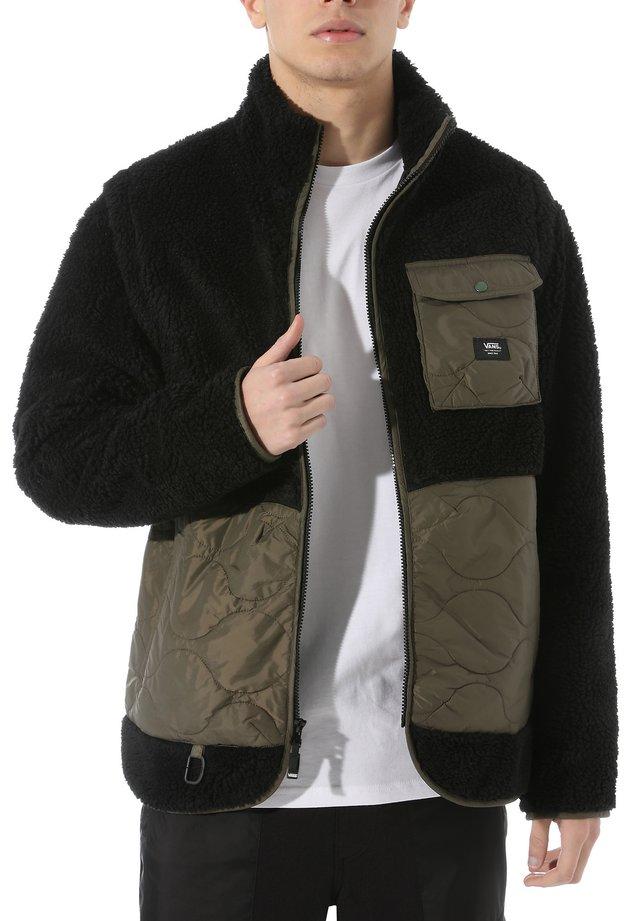MN WEBER - Fleece jacket - black sherpa-grape leaf