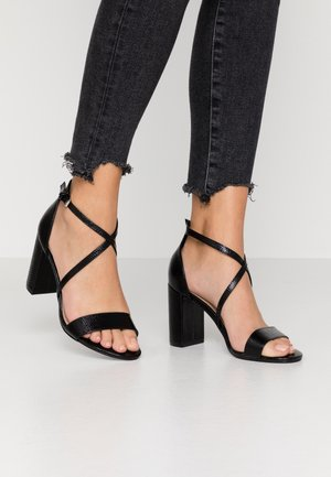 WIDE FIT SELLY CROSS OVER - High heeled sandals - black