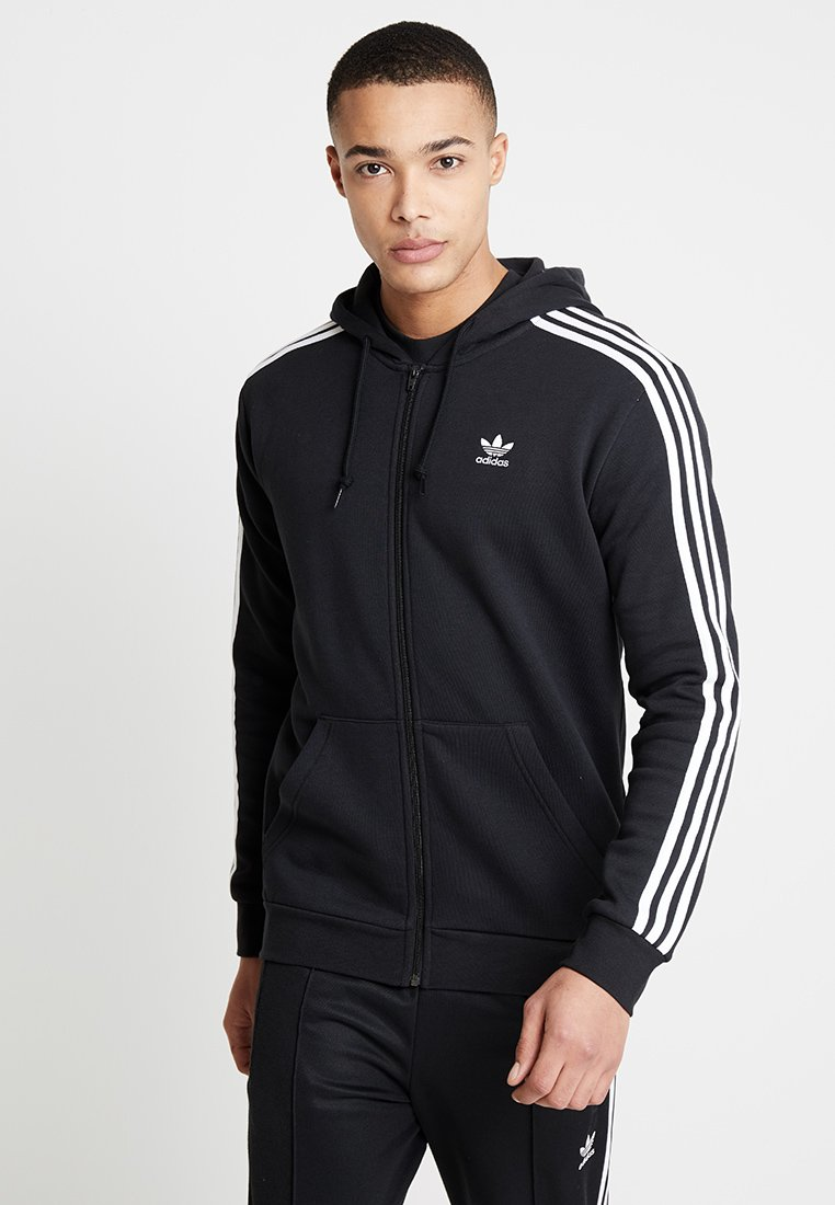 adidas Originals - STRIPES UNISEX - Huvtröja med dragkedja - black
