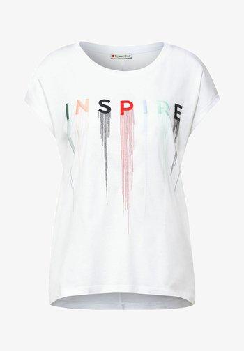 MIT STICKEREI - Print T-shirt - weiß